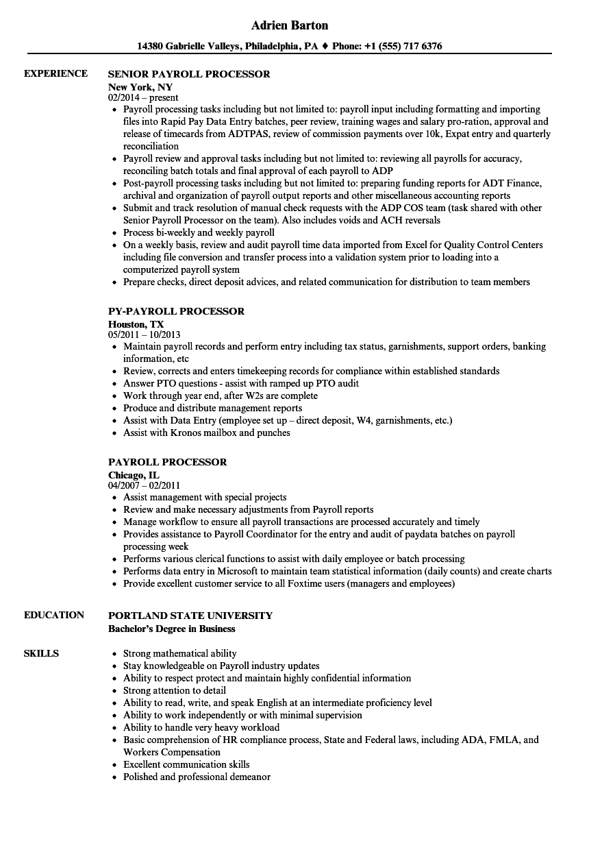 payroll processor resume samples velvet jobs