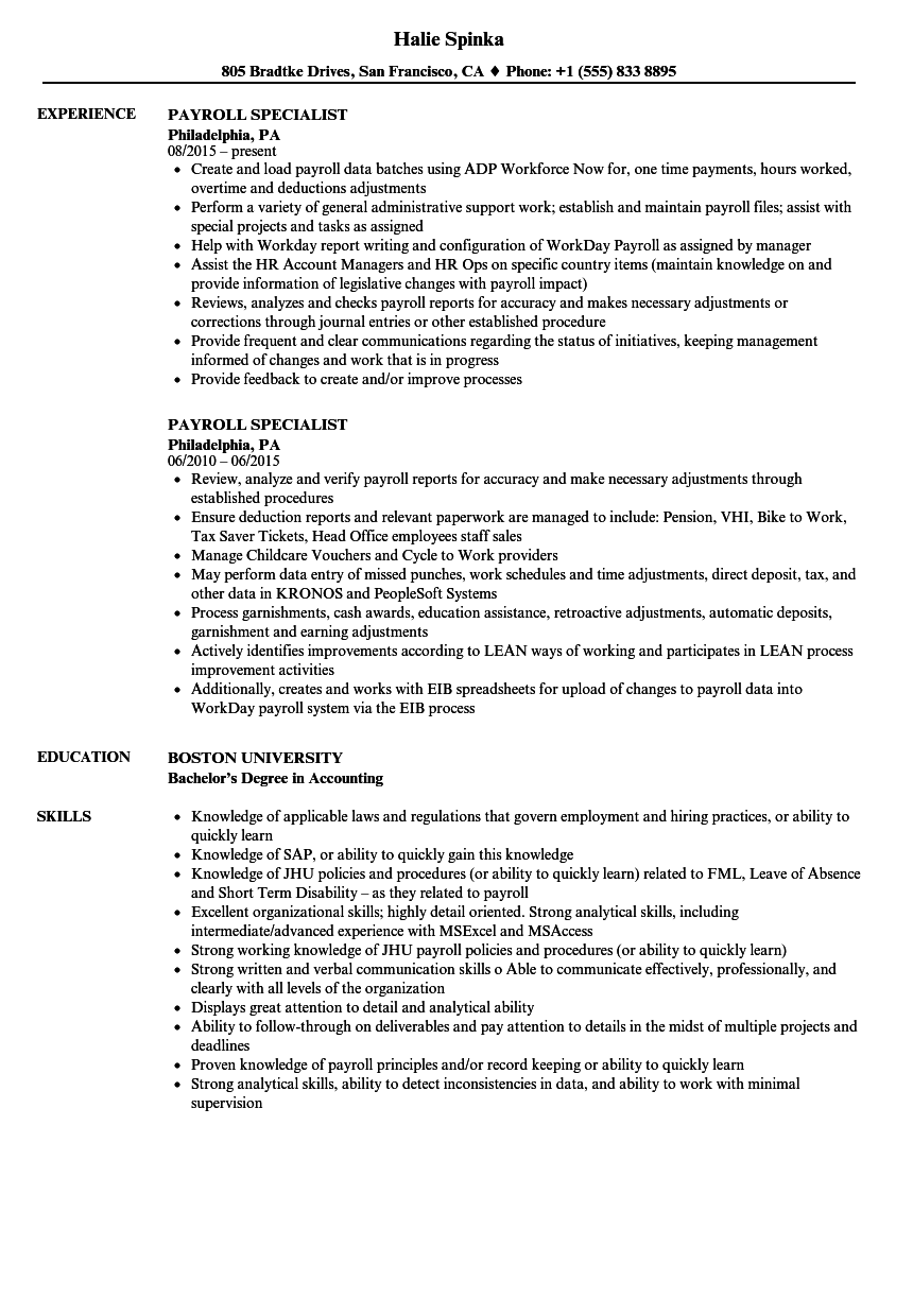Payroll Specialist Resume Samples Velvet Jobs