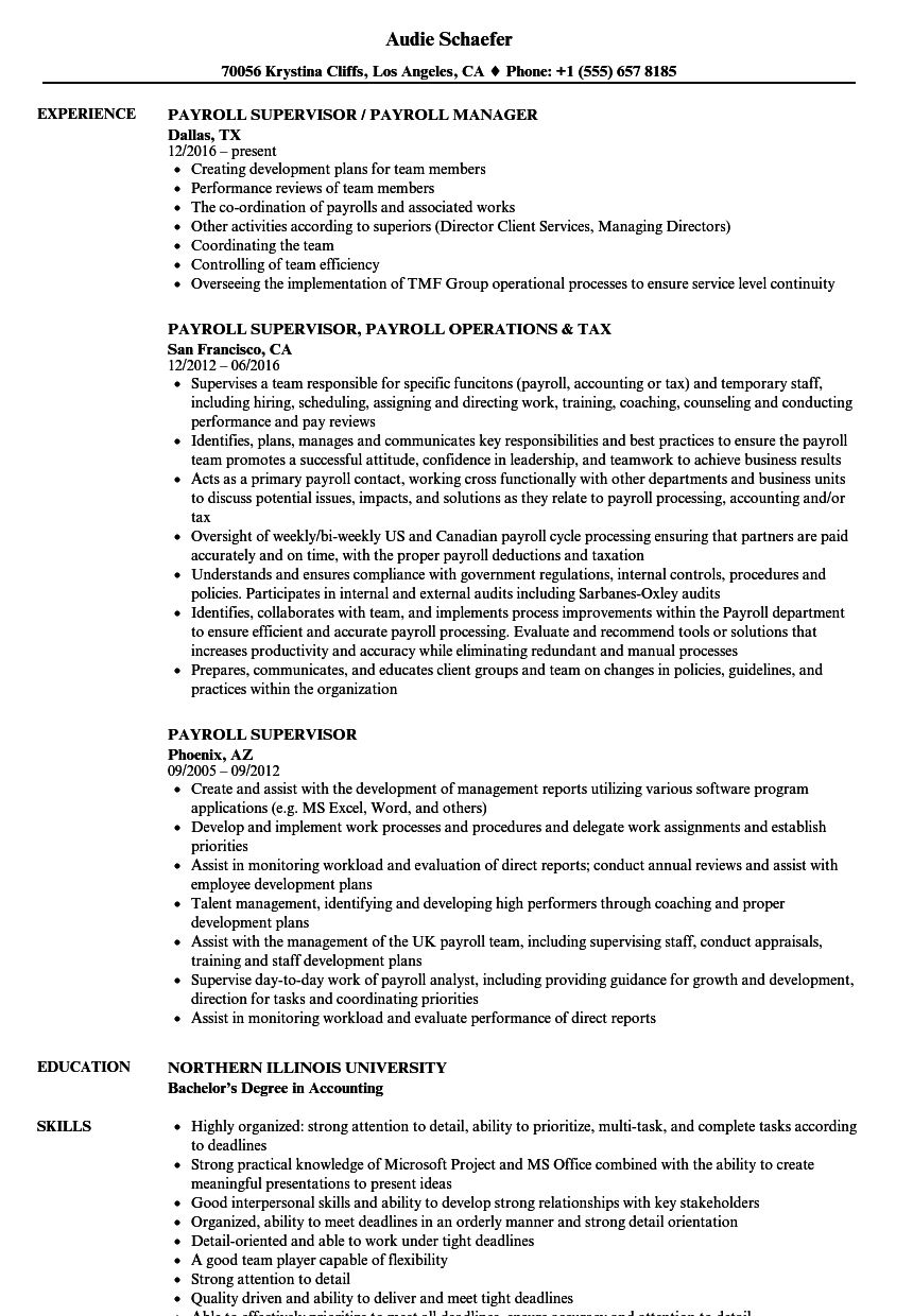 Payroll Supervisor Resume Samples | Velvet Jobs
