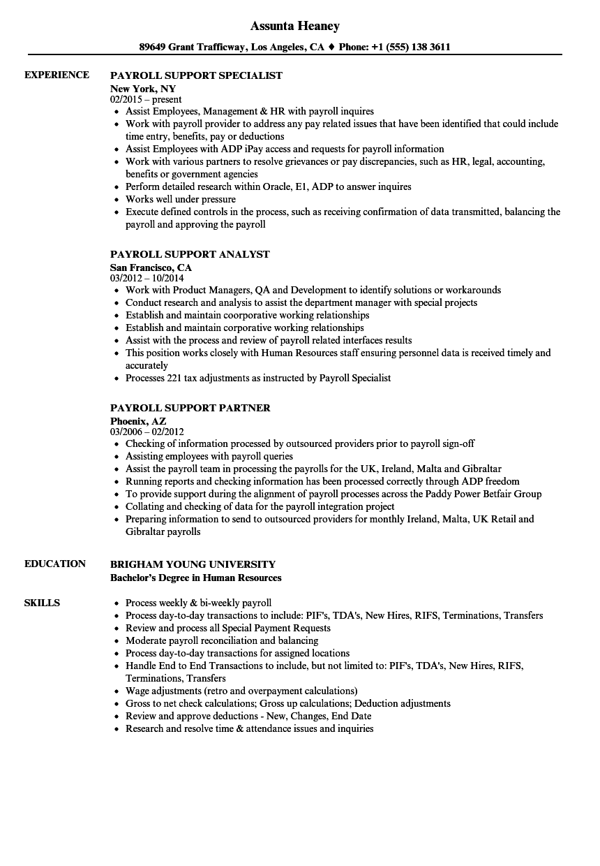 payroll support resume samples