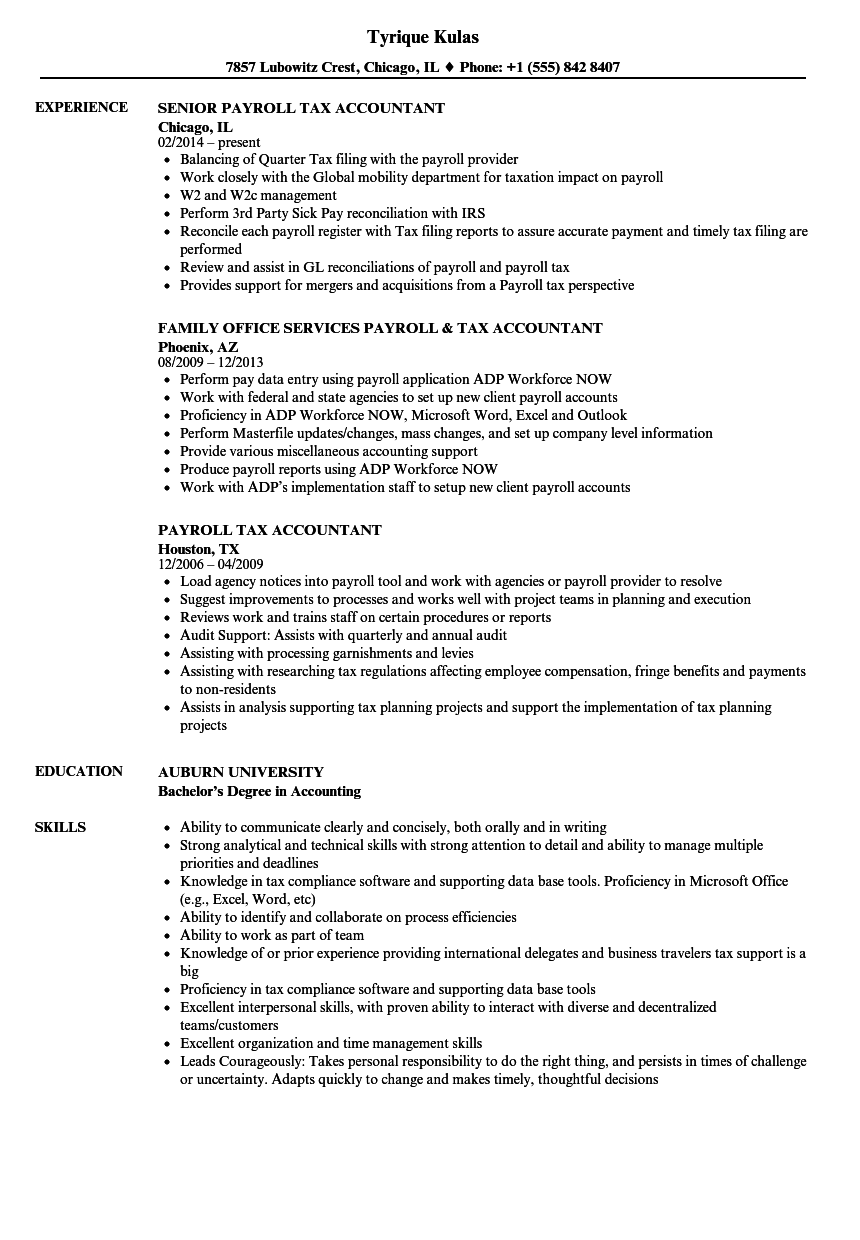 Payroll Tax Accountant Resume Samples | Velvet Jobs