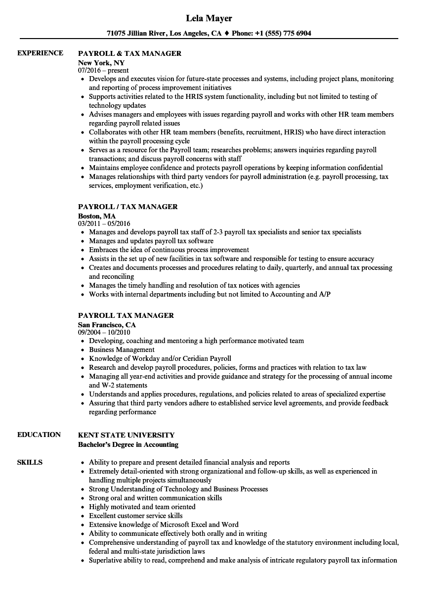 Payroll tax Manager Resume Samples | Velvet Jobs
