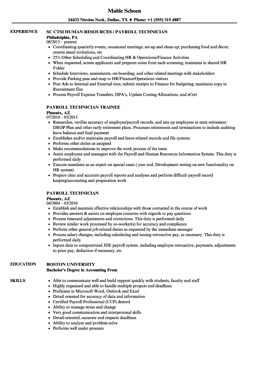 Payroll Technician Resume Samples | Velvet Jobs