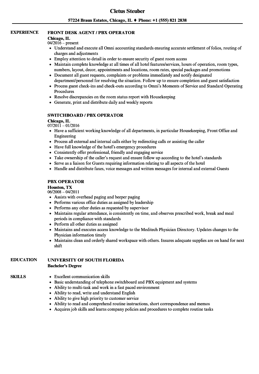 PBX Operator Resume Samples   Velvet