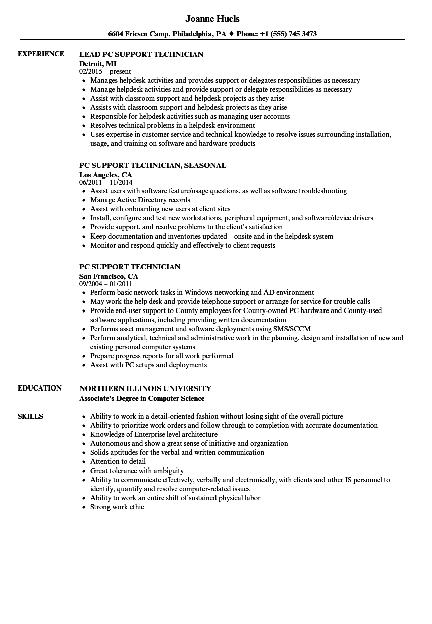pc support technician resume samples