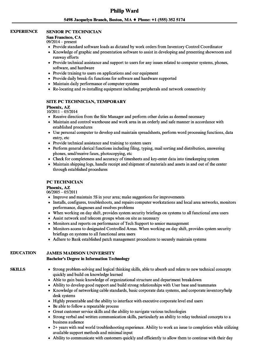 PC Technician Resume Samples | Velvet Jobs