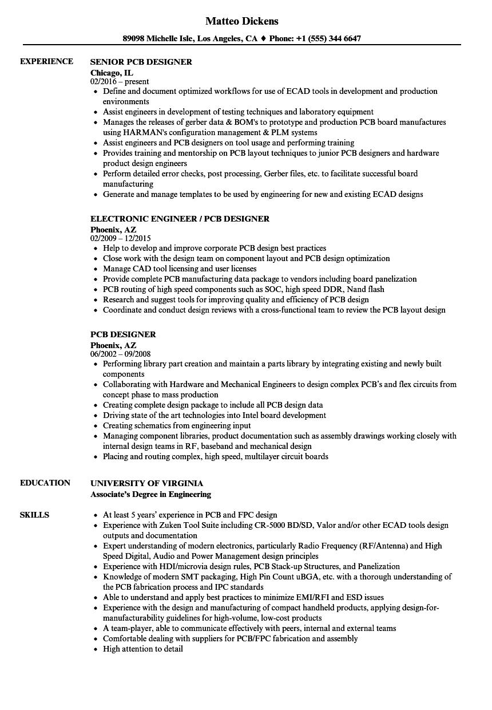 pcb designer resume samples