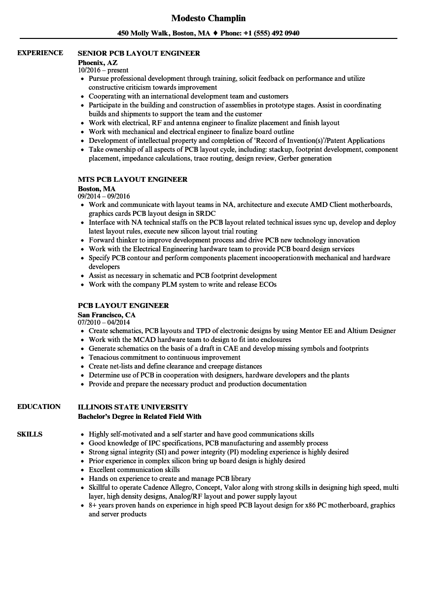 PCB Layout Engineer Resume Samples | Velvet Jobs
