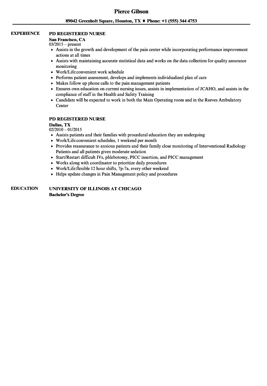 Download PD Registered Nurse Resume Sample As Image File