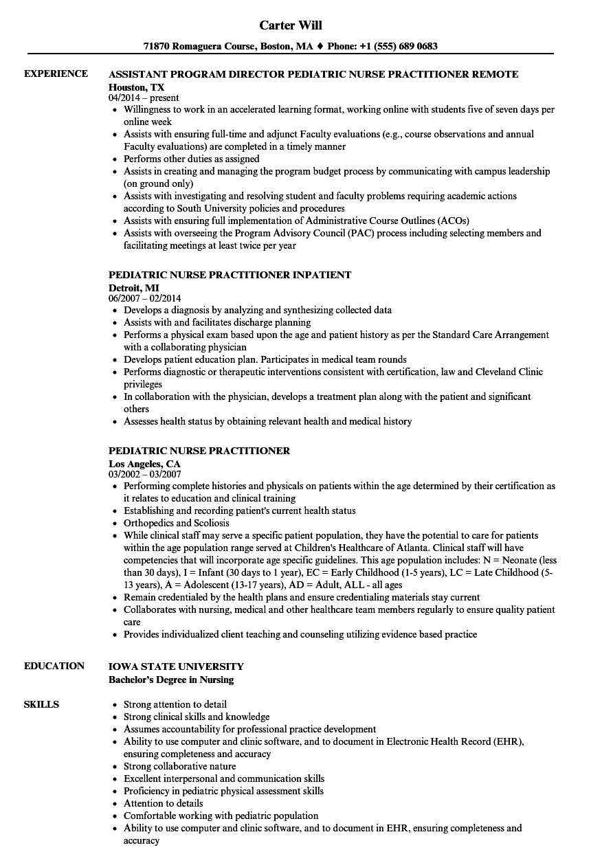Pediatric Nurse Practitioner Resume Samples Velvet Jobs