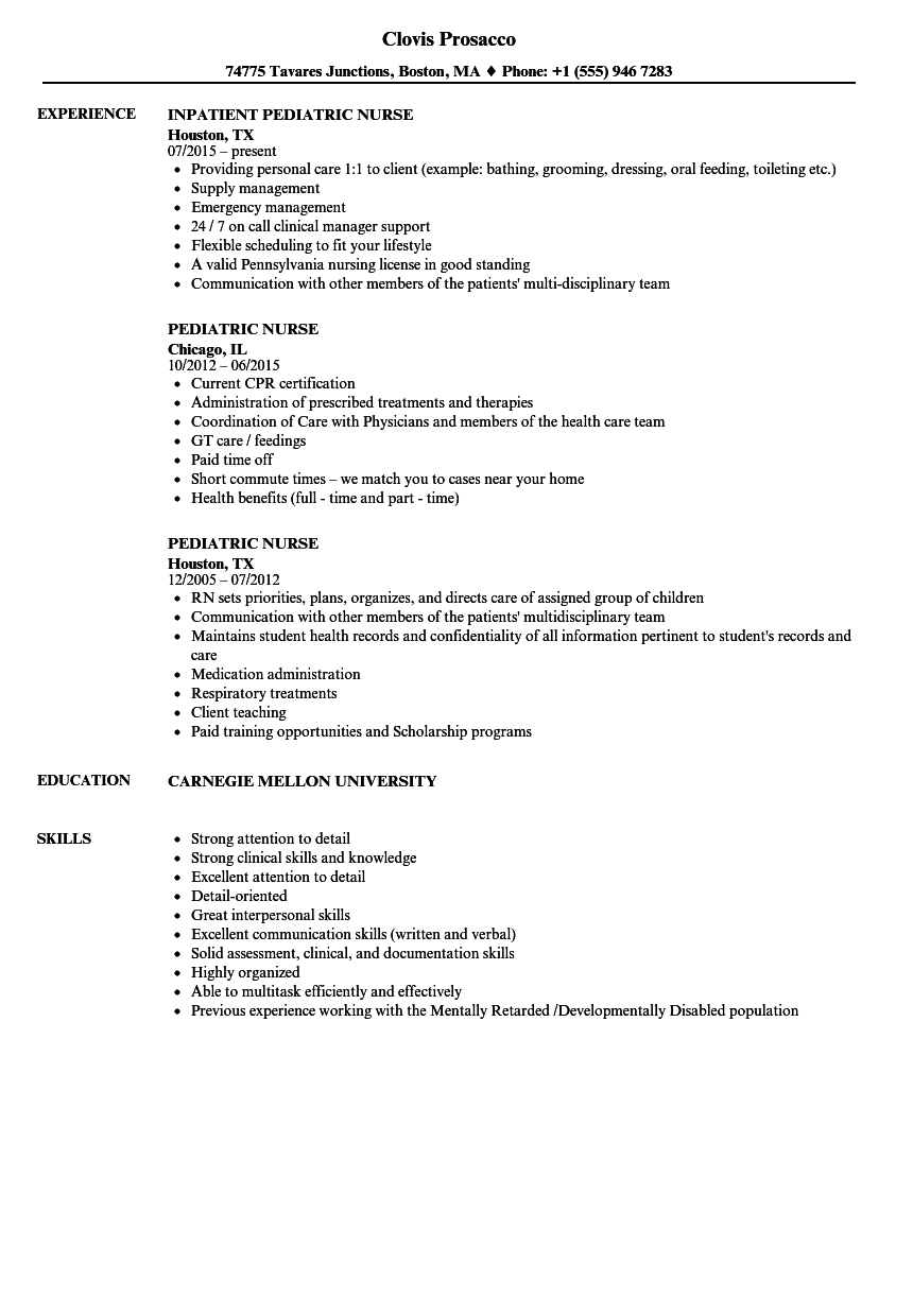 Pediatric Nurse Resume Samples | Velvet Jobs