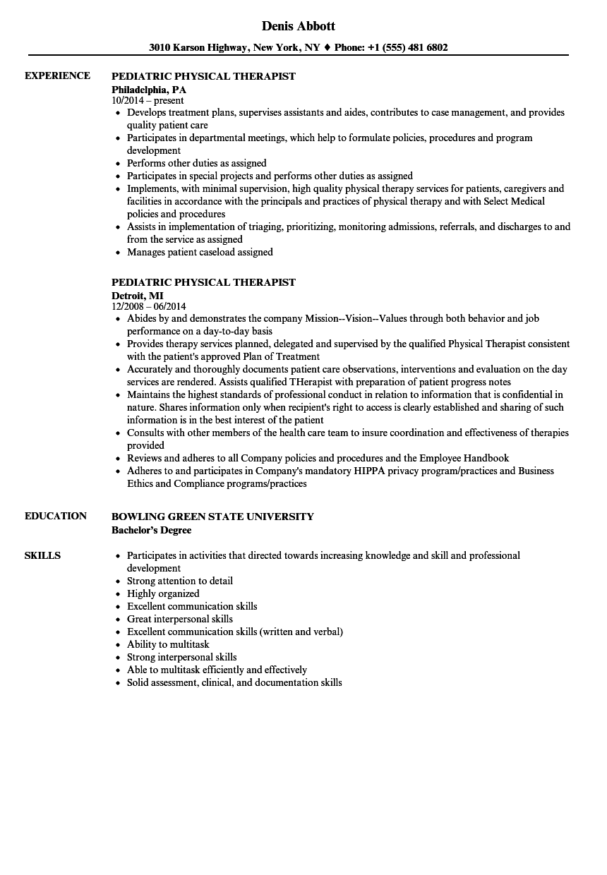 download pediatric physical therapist resume sample as image file