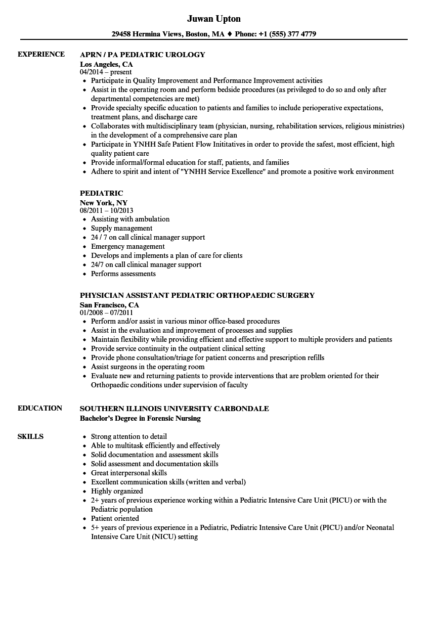 pediatric resume samples
