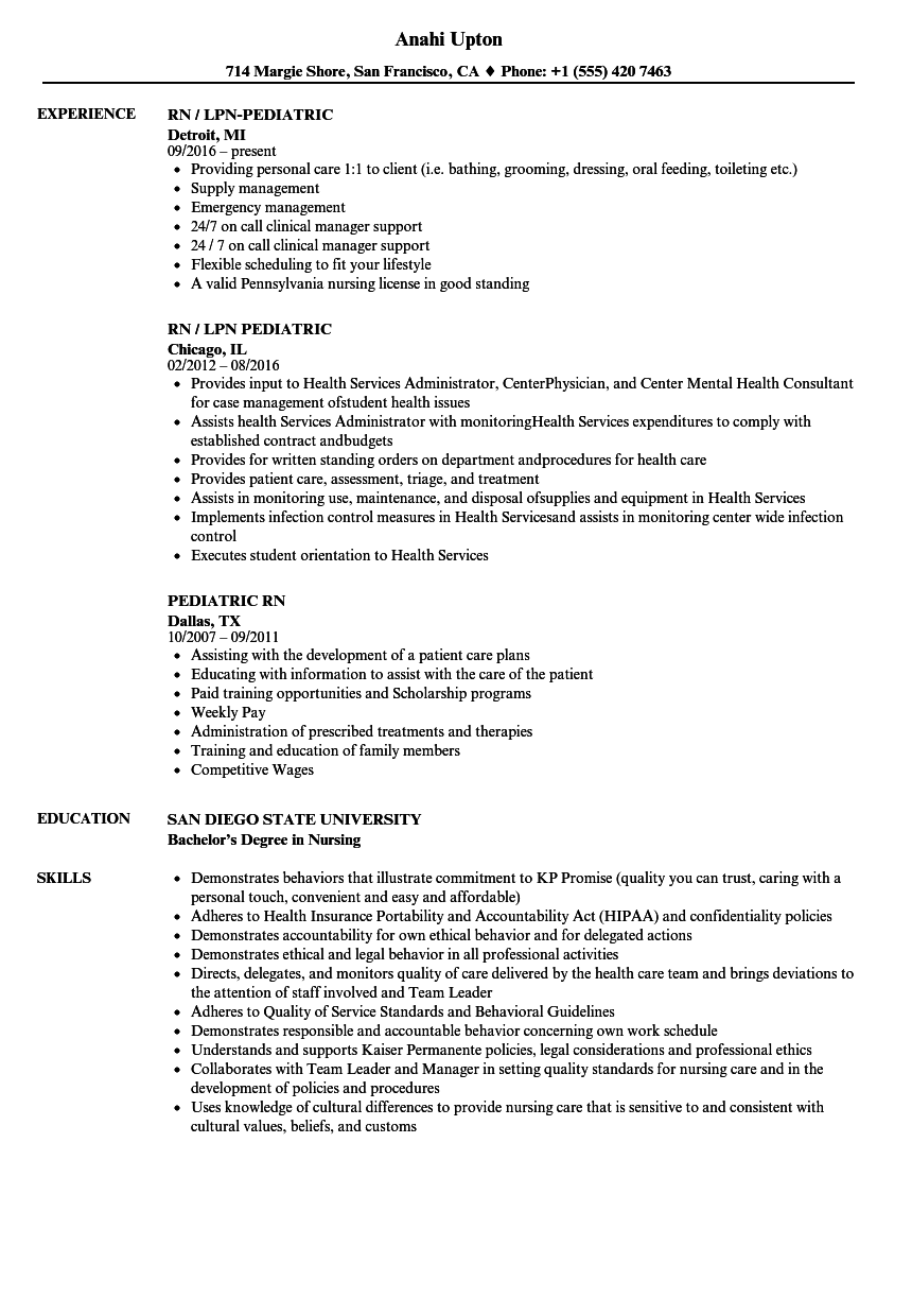 pediatric nurse resume sample