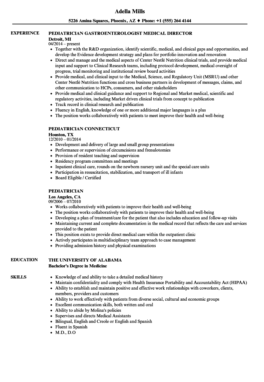 pediatrician resume