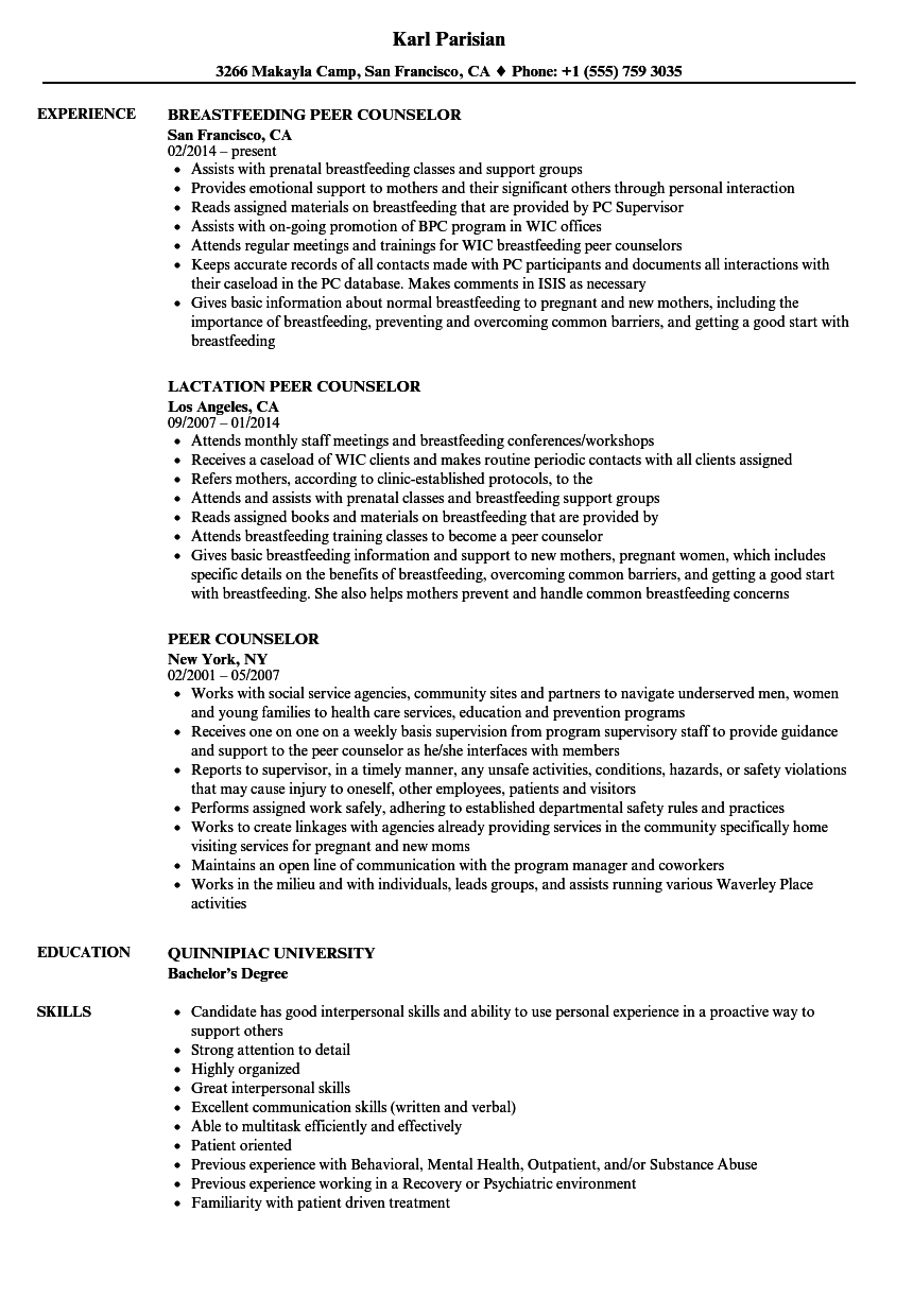 Peer Counselor Resume Samples | Velvet Jobs