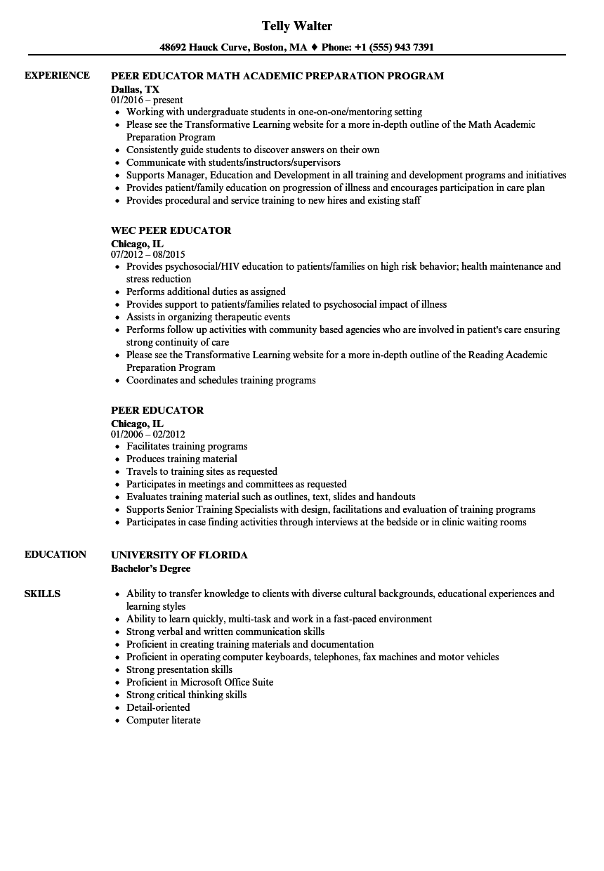 peer educator resume samples