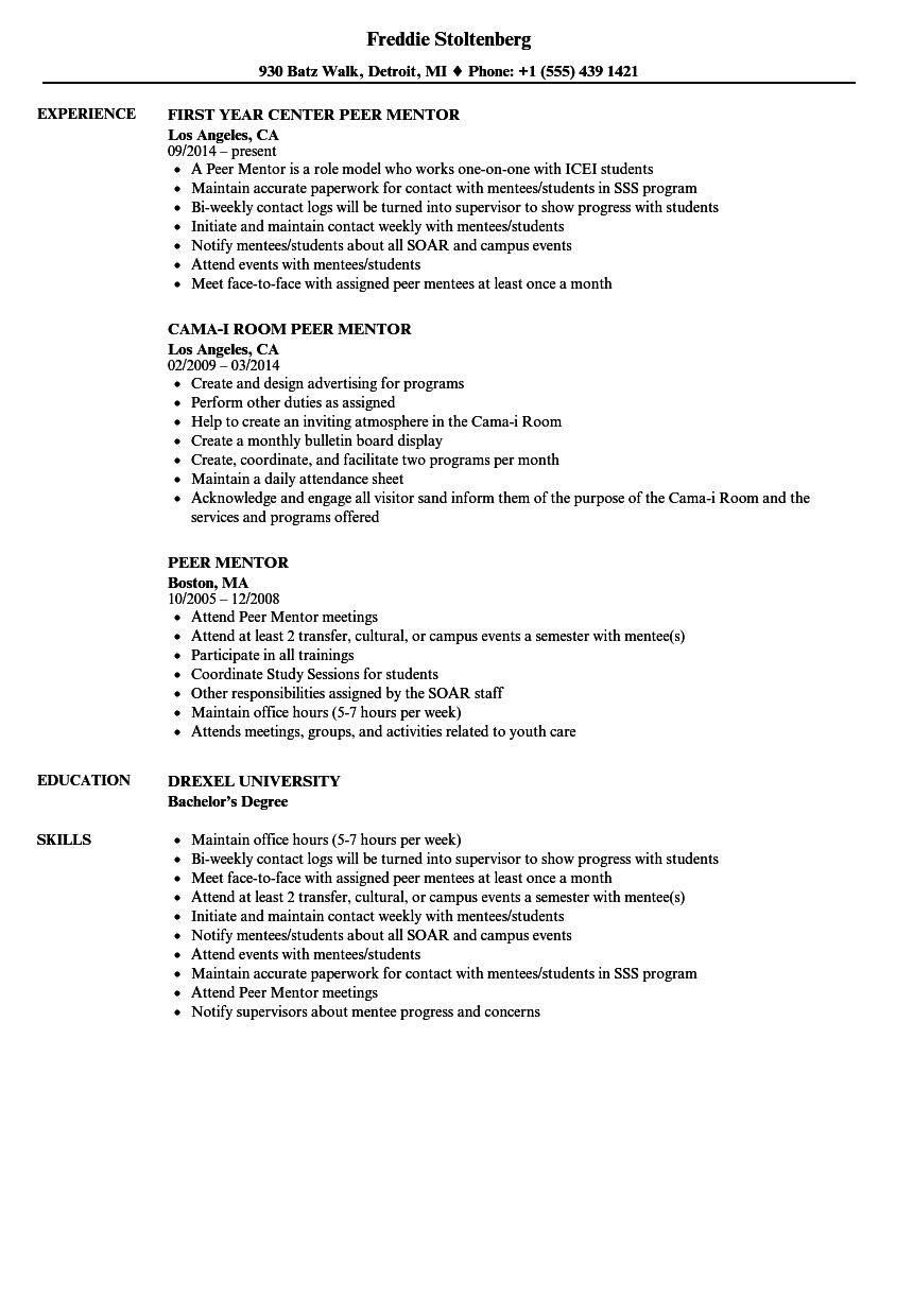 peer mentor resume samples