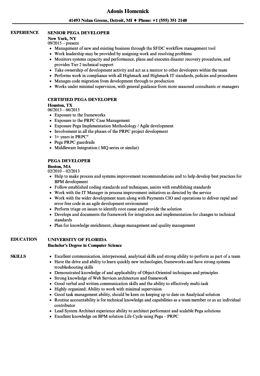pega developer resume samples