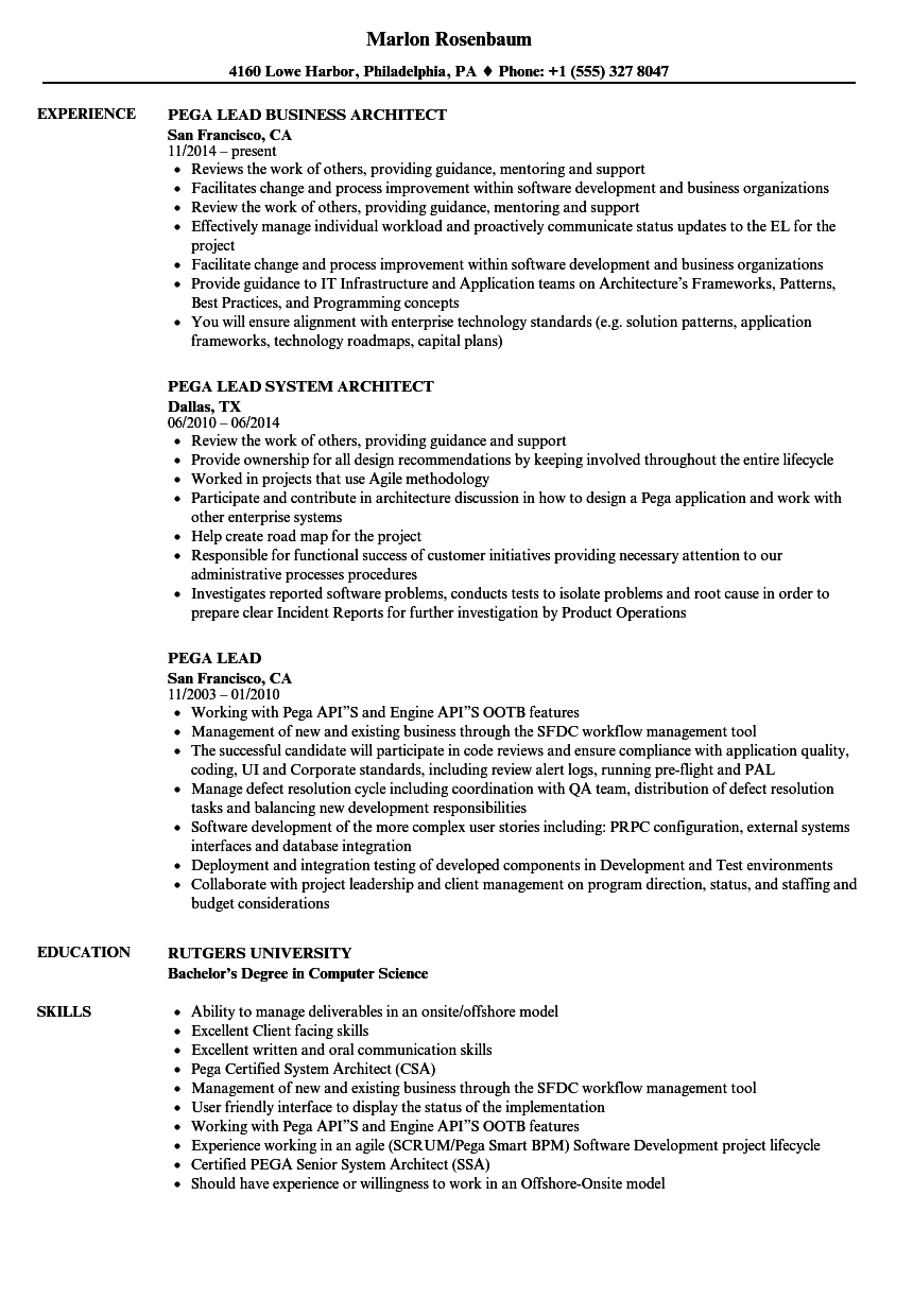 Pega Lead Resume Samples Velvet Jobs