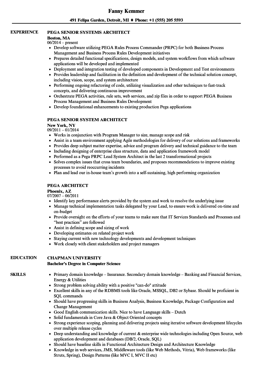 pega resume samples