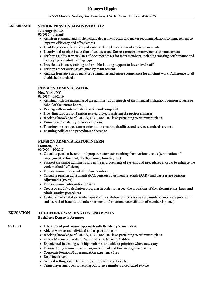 pension administrator resume samples