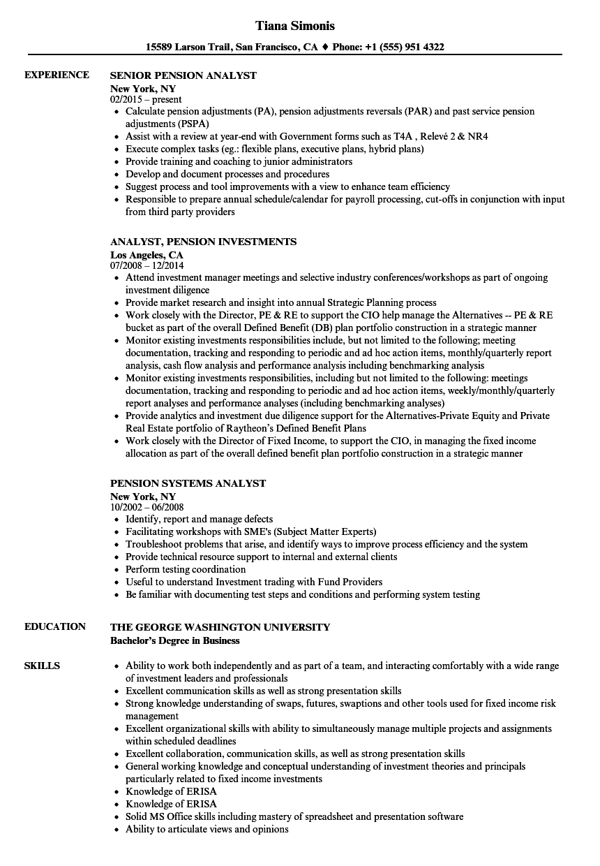 Superior Download Pension Analyst Resume Sample As Image File  Internal Resumeactuarial Resume