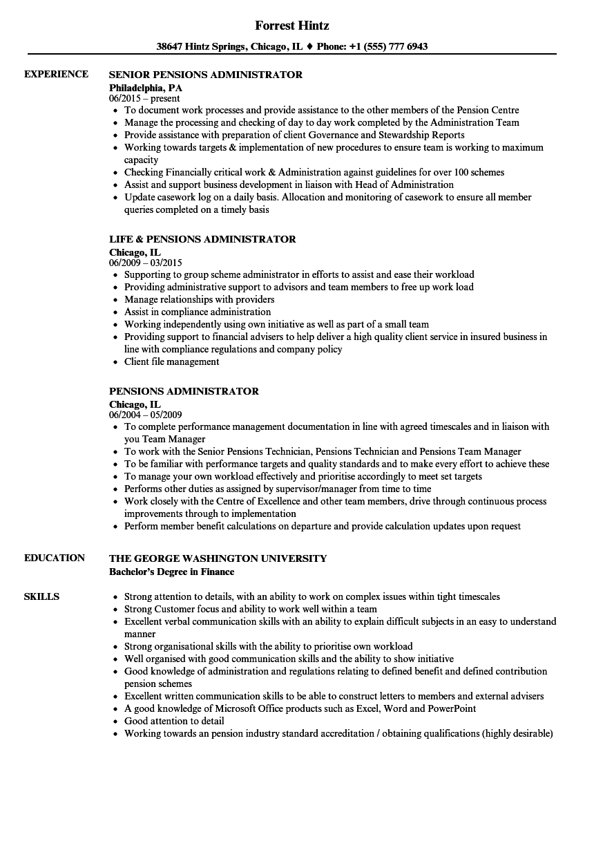 Download Pensions Administrator Resume Sample As Image File  George Washington Resume