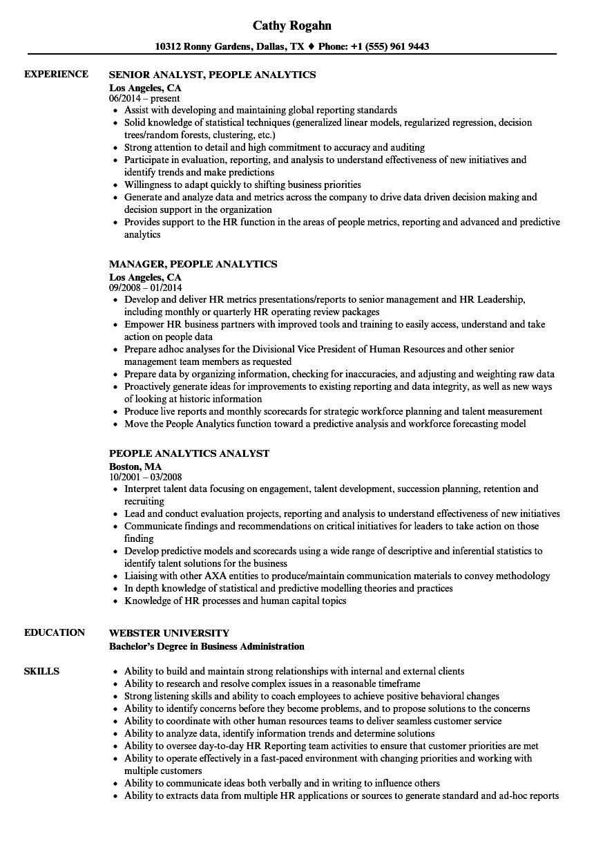 People Analytics Resume Samples | Velvet Jobs