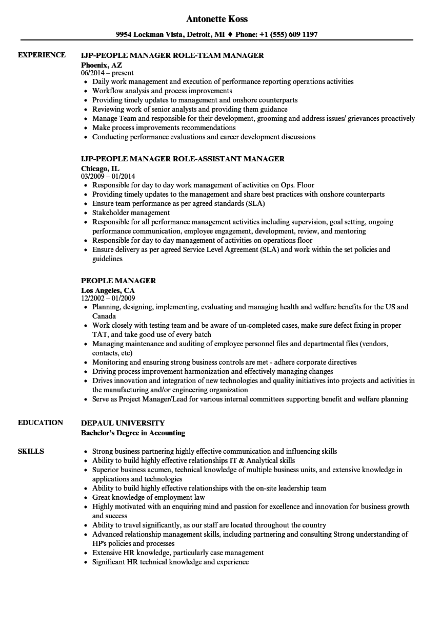 people manager resume samples velvet jobs