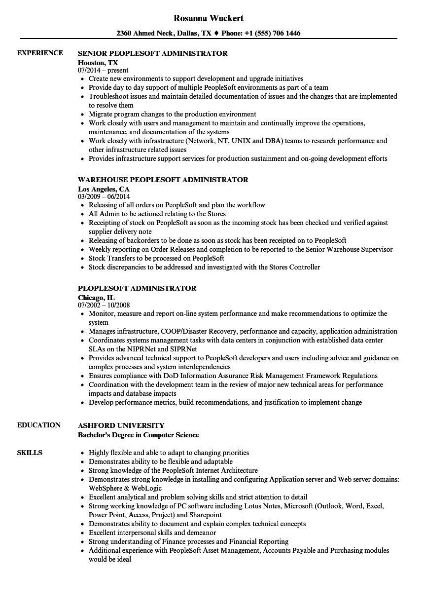 peoplesoft administrator resume samples
