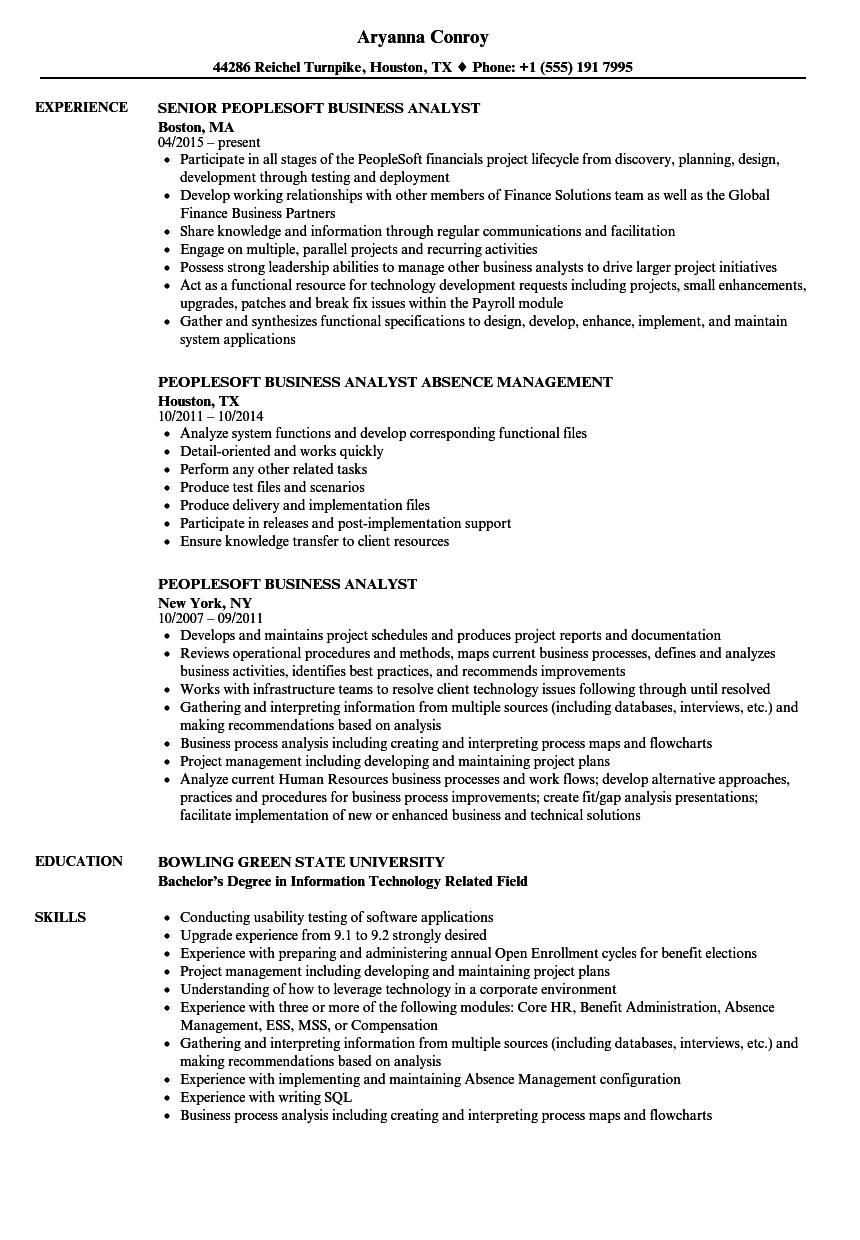 peoplesoft business analyst resume samples
