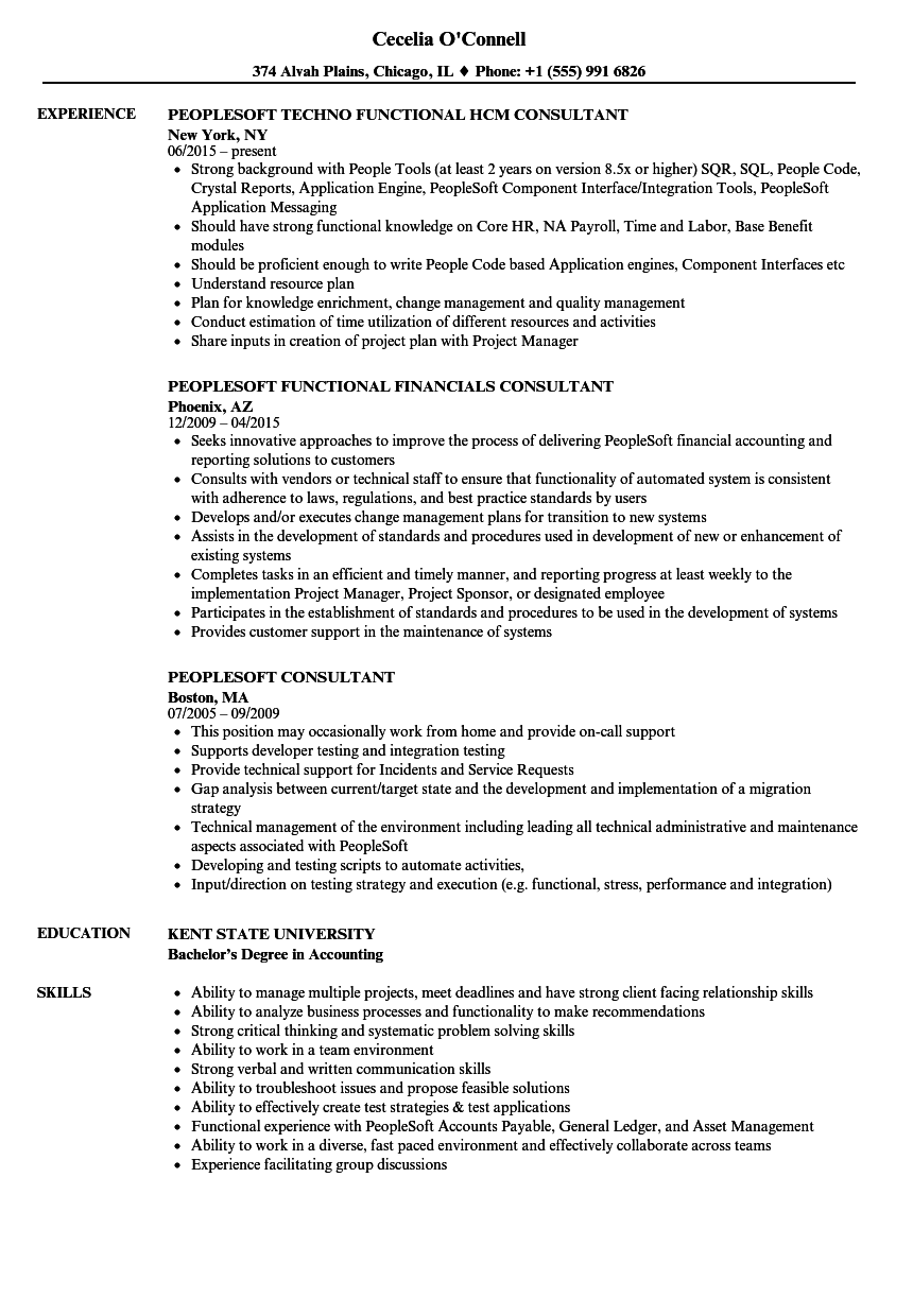 peoplesoft consultant resume samples