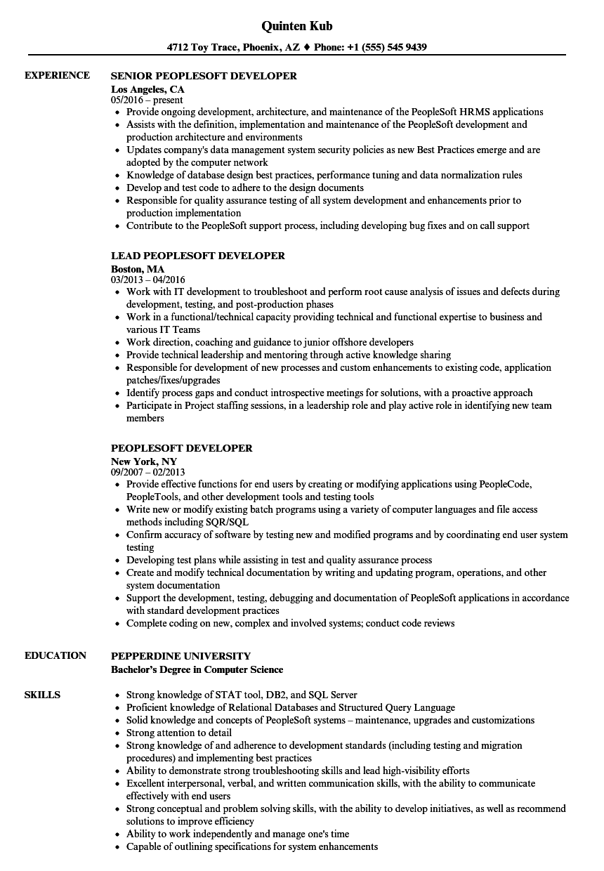 peoplesoft developer resume samples velvet jobs