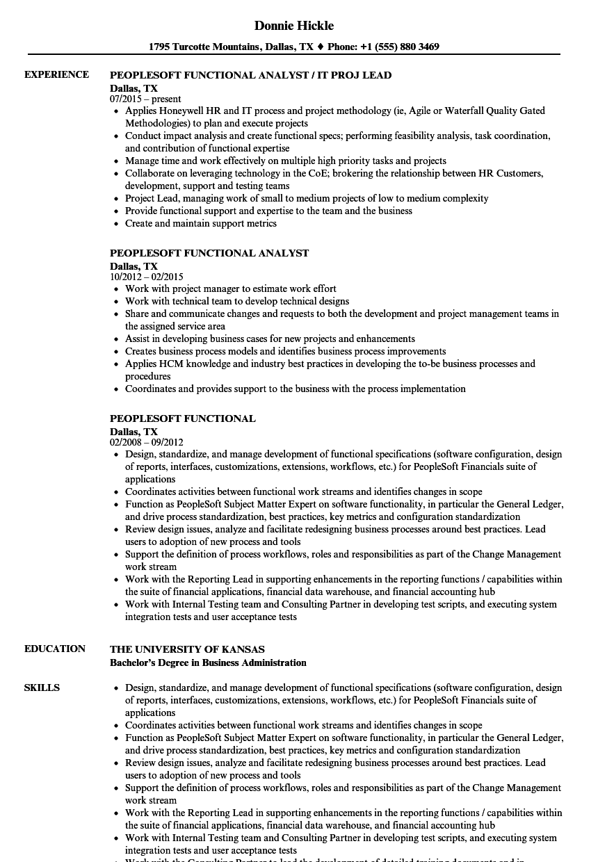 Peoplesoft Functional Resume Samples Velvet Jobs