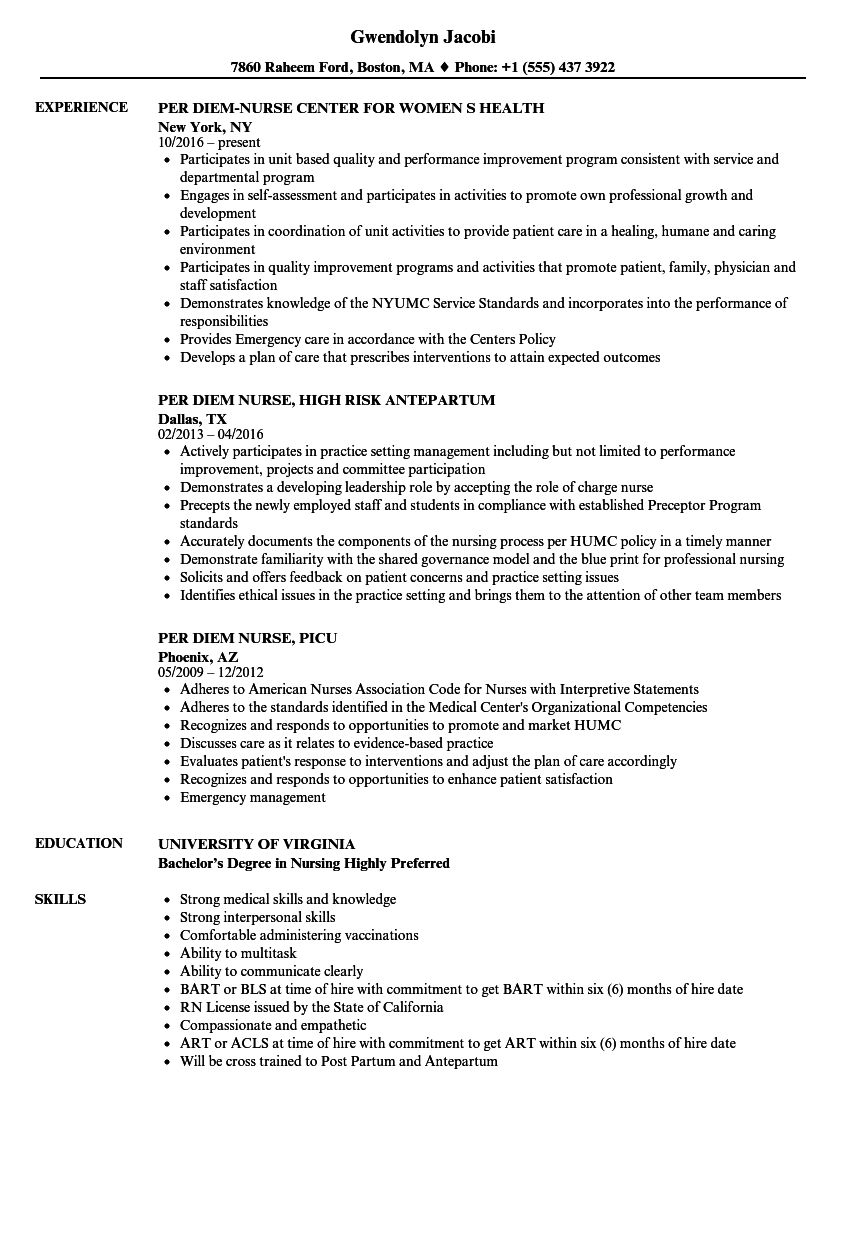 per diem nurse resume samples