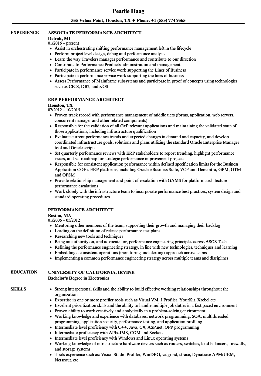 Download Performance Architect Resume Sample As Image File  Performance Resume