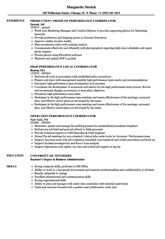 Performance Coordinator Resume Samples Velvet Jobs