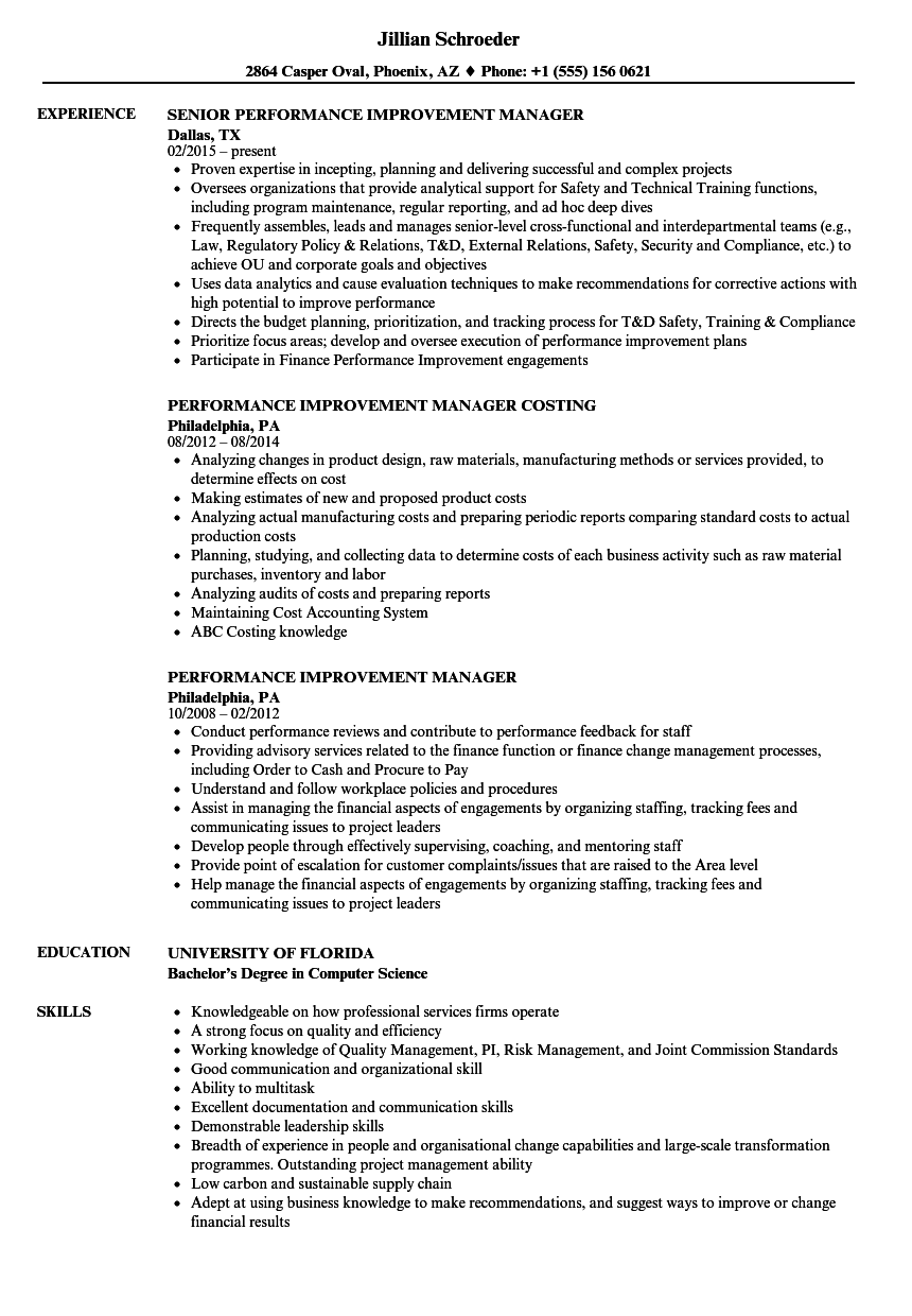 Performance Improvement Manager Resume Samples | Velvet Jobs