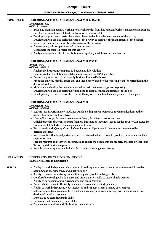 Performance Management Analyst Resume Samples Velvet Jobs