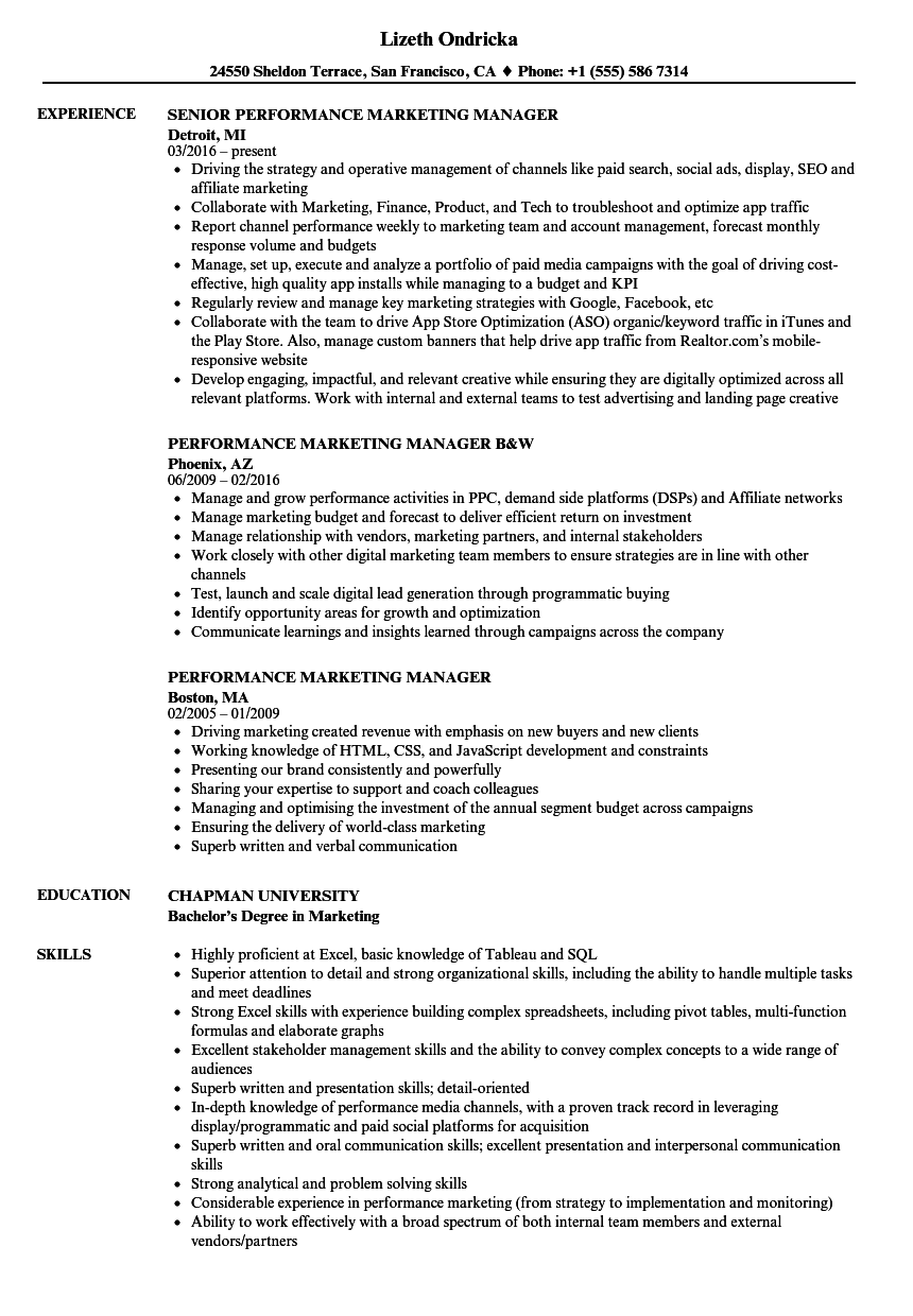 performance marketing manager resume samples velvet jobs