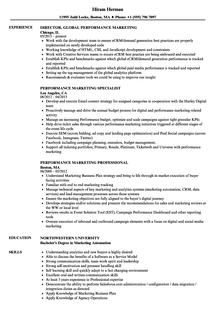 Performance Marketing Resume Samples | Velvet Jobs