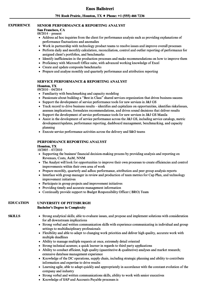 performance reporting analyst resume samples