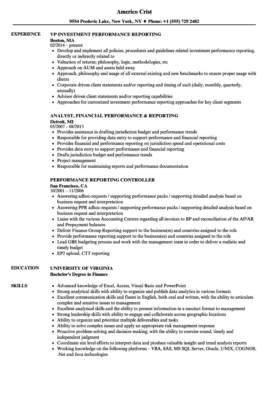 Performance Reporting Resume Samples Velvet Jobs