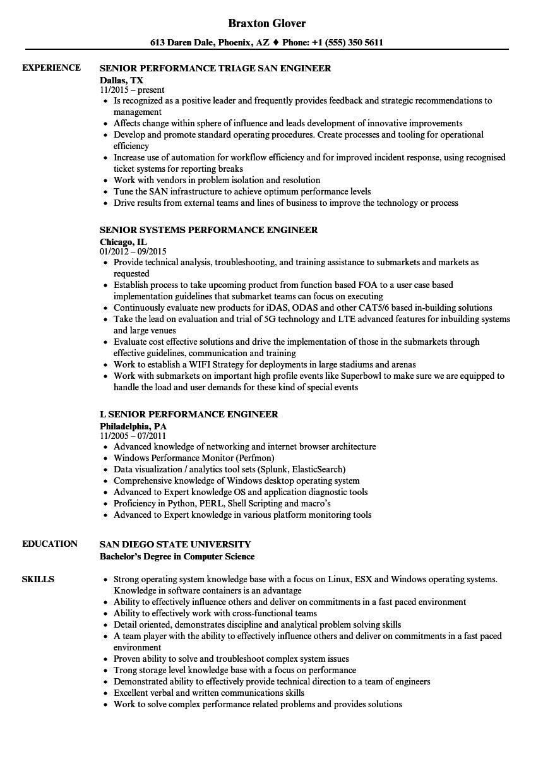 performance senior engineer resume samples