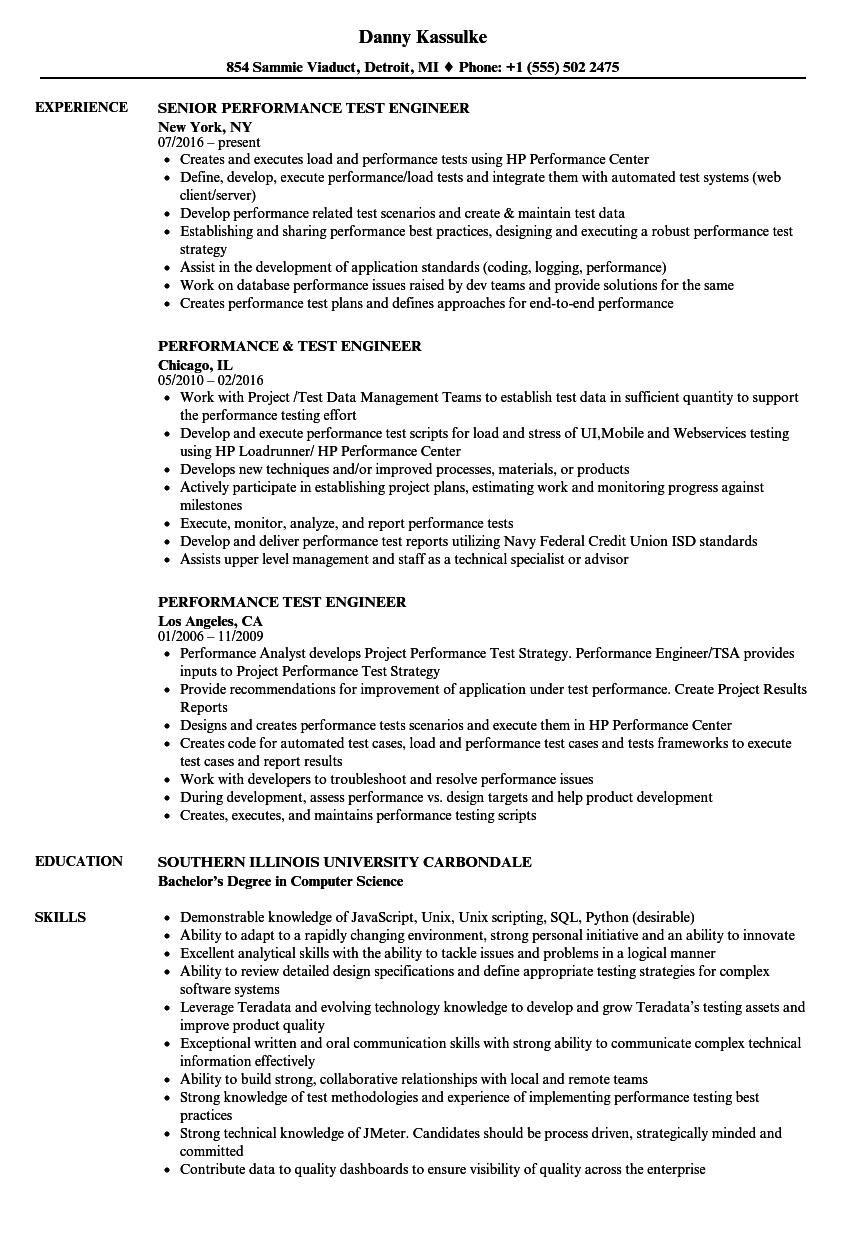 Performance Test Engineer Resume Samples | Velvet Jobs