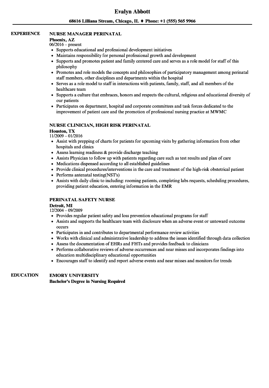 Perinatal Nurse Resume Samples | Velvet Jobs