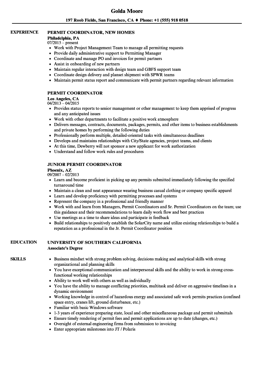 Permit Coordinator Resume Samples Velvet Jobs