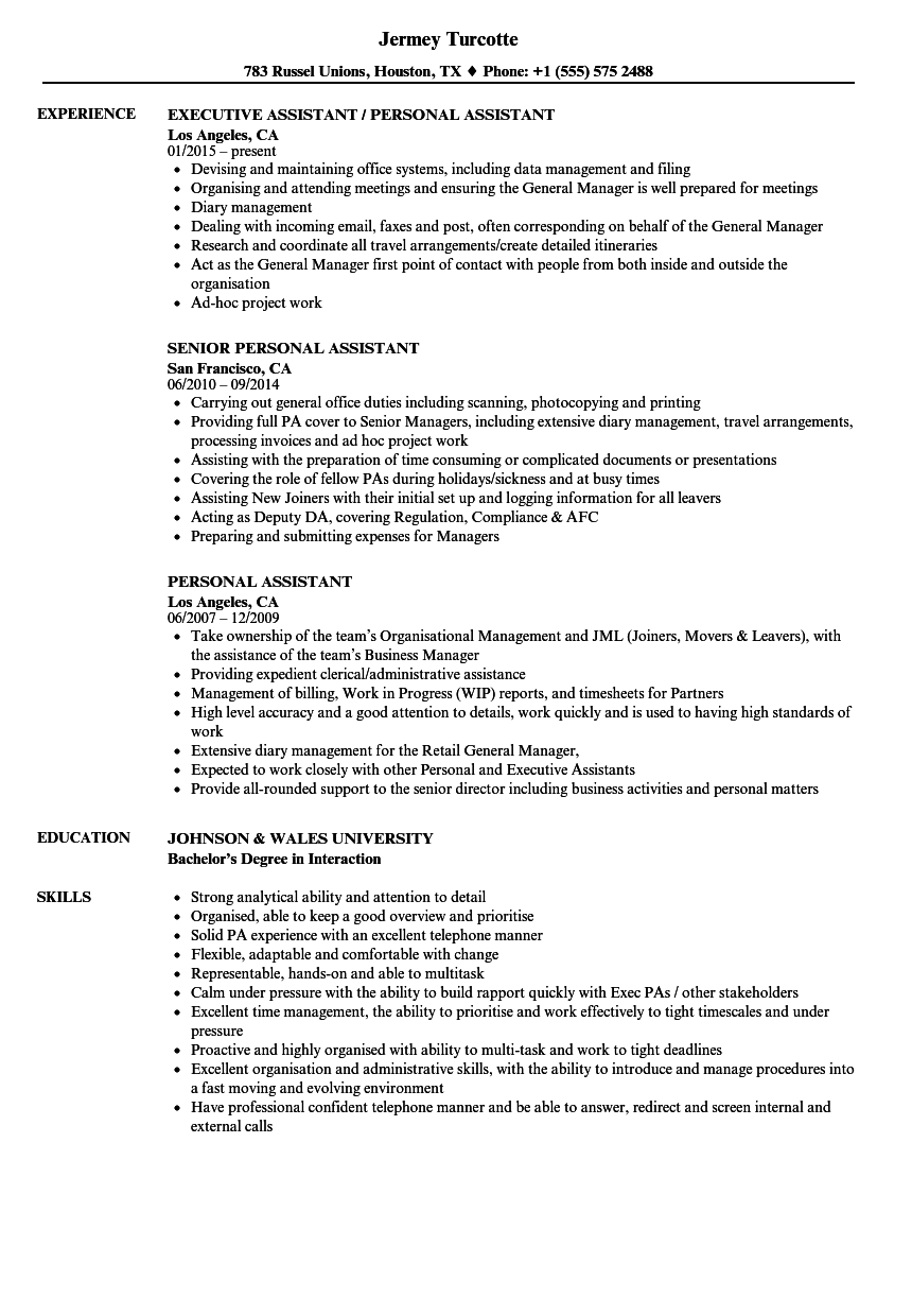 Personal Assistant Resume Samples Velvet Jobs