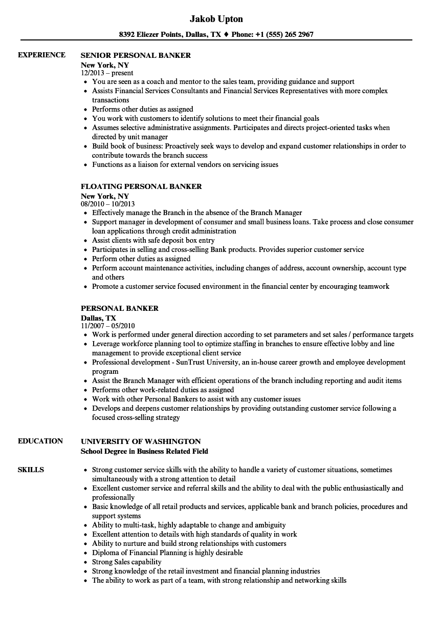 sample personal banker resume